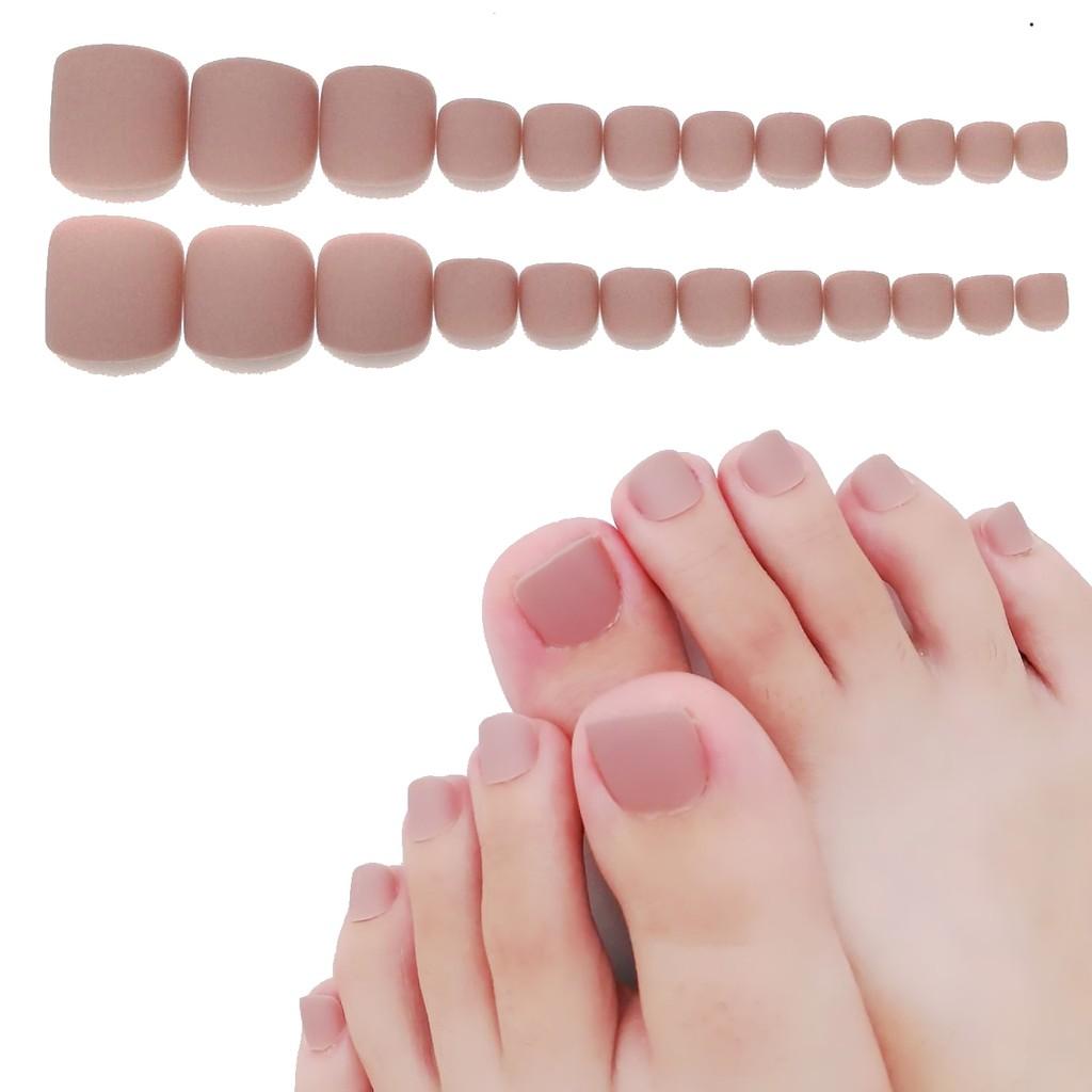 指甲貼片 裸咖氣質磨砂 腳指甲 裸色系美甲甲片假指甲片 腳貼片【買送6配件】