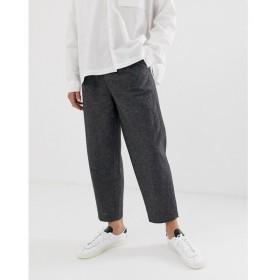 エイソス ASOS WHITE メンズ スラックス ボトムス・パンツ relaxed smart trousers in crosshatch linen mix Charcoal