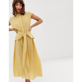 アンドアザーストーリーズ & Other Stories レディース ワンピース ワンピース・ドレス waist knot midi dress in yellow print Cannage print