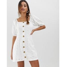 エイソス ASOS DESIGN レディース ワンピース ワンピース・ドレス button through broderie tea dress White