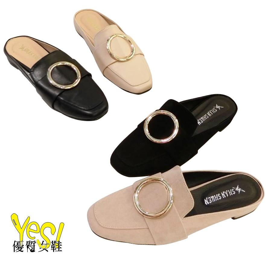 MIT台灣製-質感圓釦低跟方頭半包鞋 穆勒鞋 懶人鞋-黑/卡其【Yes 優質女鞋】