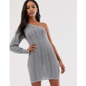 エイソス ASOS DESIGN レディース ワンピース ワンピース・ドレス metallic one shoulder mini dress Silver
