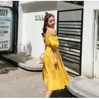 無地 ひざ下丈 ワンピース レディース 韓国 オルチャン ファッション 夏服 レディース 夏新作ワンピース 韓国 風 レディース ファッショ