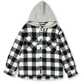 ブランシェス フード付チェックシャツ レディース オフホワイト 90cm 【branshes】