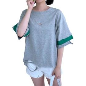 BeiBang(バイバン) レディース 半袖Tシャツ 夏 ゆったり tシャツ ダメージ加工 ストリート ファッション トップス コットンtシャツ 夏服 大きいサイズ(20ライトグレー)