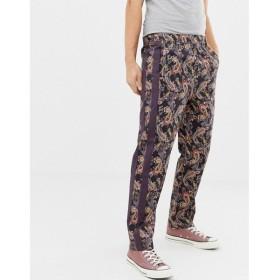 エイソス ASOS DESIGN メンズ ボトムス・パンツ relaxed trousers in paisley print with side tape Burgundy