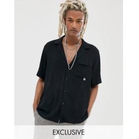 コルージョン Collusion メンズ シャツ トップス COLLUSION revere shirt in black Black
