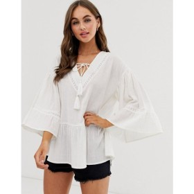 エイソス ASOS DESIGN レディース トップス v neck smock top with fluted sleeve in cheesecloth Ivory