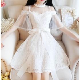 パーティードレス 結婚式 二次会 ワンピースドレス 謝恩会 同窓会 成人式 お呼ばれドレス 韓国 オルチャン ワンピース 総レース オフショ