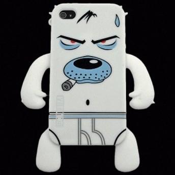 iPhone 4S/iPhone 4 共通 Sillicone/Skin/Briefs/Dog/White スマートフォンケース スマホケース [▲][G]