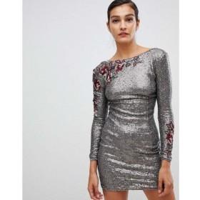 リトル ミストレス Little Mistress レディース ワンピース ワンピース・ドレス long sleeve all over sequin dress Mocha