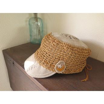 ささ和紙で編んだリトアニアリネンつば帽子 ︎きなり