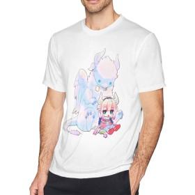 渡辺家のココア 小林さんちのメイドラゴン メンズ半袖Tシャツ 白 S