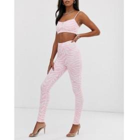 エルシー&フレッド Elsie & Fred レディース スパッツ・レギンス インナー・下着 high waisted leggings in pink zebra print co-ord White