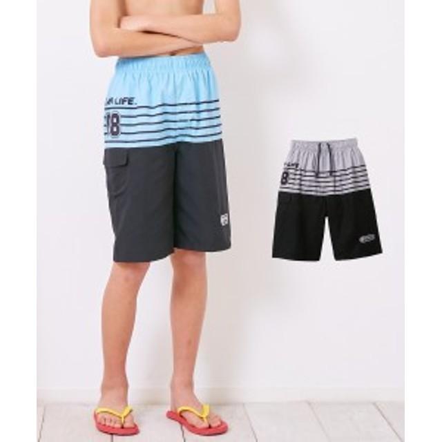 水着 キッズ サーフ パンツ 男の子 子供 ジュニア スポーツウェア グレー/サックス 身長140/150/160cm ニッセン