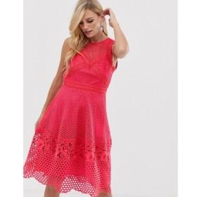 リトル ミストレス Little Mistress レディース ワンピース ワンピース・ドレス sleeve all over lace skater dress Pink