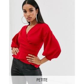 ブーフー Boohoo Petite レディース オフショルダー トップス off shoulder top with tie waist in red Red