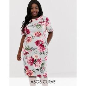 エイソス ASOS Curve レディース ワンピース ワンピース・ドレス ASOS DESIGN Curve wiggle midi dress in floral print Pink based floral
