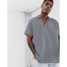 エイソス ASOS DESIGN メンズ シャツ トップス boxy fit shirt in navy horizontal stripe Grey