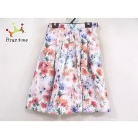 アプワイザーリッシェ スカート サイズ0 XS レディース 美品 白×ピンク×マルチ 新着 20190824