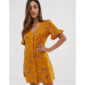 ブーフー Boohoo レディース ワンピース ワンピース・ドレス exclusive button through tea dress in orange floral Multi