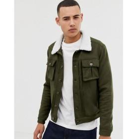 アナザー インフルエンス Another Influence メンズ レザージャケット アウター Faux Suede Jacket With Borg Collar Green