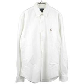 RALPH LAUREN(ラルフローレン)スリムフィットストレッチオックスフォード ポニー刺繍ボタンダウン長袖シャツ ホワイト