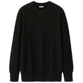 (GU)ウォッシャブルコットンアゼクルーネックセーター(長袖) BLACK XXL