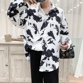 韓国風 個性 プリント メンズ シャツ メンズファッション モード系 ストリート系 トップス カジュアルシャツ