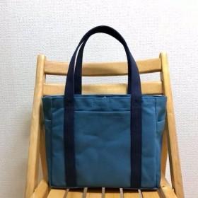 「ポケットトート」中サイズ「ミネラルブルー×ネイビー(紺)」倉敷帆布8号【受注制作】