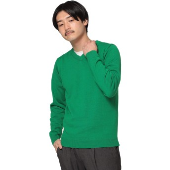 (ビームス)BEAMS/ニット・セーター/アクリル コットン Vネック ニット メンズ GREEN L