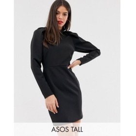 エイソス ASOS Tall レディース ワンピース ワンピース・ドレス ASOS DESIGN Tall mini dress with extreme puff sleeve Black