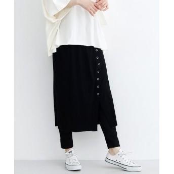 メルロー リングスナップボタンリブスカート レディース ブラック FREE 【merlot】