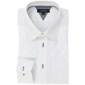 【10%OFF】 タカキュー 形態安定レギュラーフィット レギュラーカラー長袖シャツ メンズ ホワイト LL:43-82 【TAKA-Q】 【タイムセール開催中】