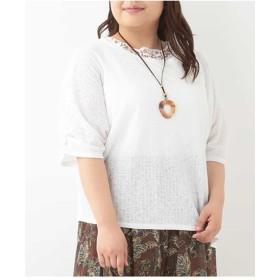 eur3 【大きいサイズ】イレヘムレースカットソー Tシャツ・カットソー,ホワイト