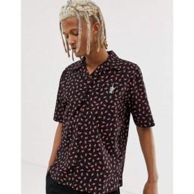 ディーゼル Diesel メンズ 半袖シャツ トップス S-Friday-Hand revere collar short sleeve printed shirt in black Black