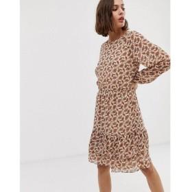 ビーヤング b.Young レディース ワンピース ワンピース・ドレス floral drop waist dress Brown combi
