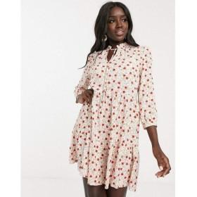 ノーバディーズ チャイルド Nobody's Child レディース ワンピース ワンピース・ドレス ruffle tie neck smock dress in cream ditsy floral Cream floral
