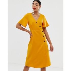 ユニーク21 UNIQUE21 レディース ワンピース ラップドレス ワンピース・ドレス short sleeve button wrap dress イエロー