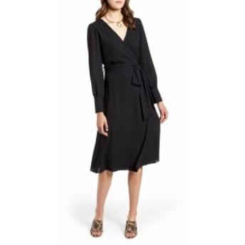 ハロゲン HALOGEN レディース ワンピース ワンピース・ドレス Long Sleeve Wrap Midi Dress Black