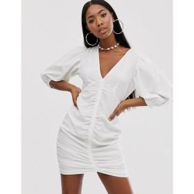 エイソス ASOS DESIGN レディース ワンピース ワンピース・ドレス ruched mini dress with puff sleeves White