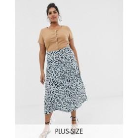 ウェンズデーガール Wednesday's Girl Curve レディース ロング・マキシ丈スカート スカート midaxi skirt in dalmatian spot Blue dalmatian