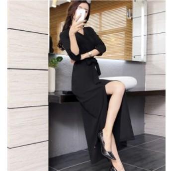 ウエストマーク ワンピース 韓国 ファッション レディース ワンピース パーティードレス 結婚式 お呼ばれドレス お呼ばれワンピース ロン