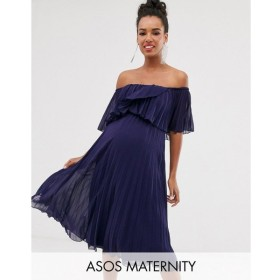 エイソス ASOS DESIGN レディース ワンピース ワンピース・ドレス Maternity pleated bandeau midi dress with double layer Navy