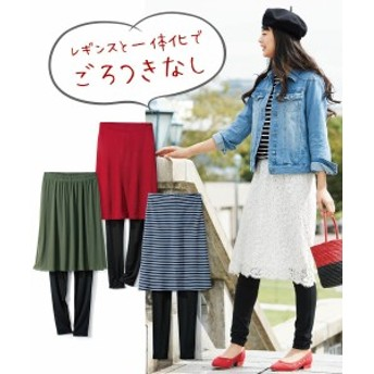 スカート 大きいサイズ レディース レギンス 付デザイン  オフホワイト レース /カーキ チュール /ネイビー×オフホワイト ボーダー /赤