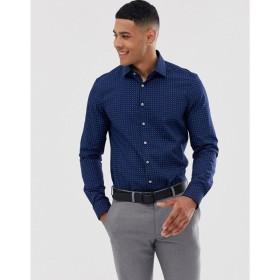 カルバンクライン Calvin Klein メンズ シャツ トップス Bari micro dot slim fit shirt Navy