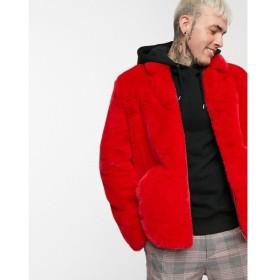 エイソス ASOS DESIGN メンズ ブルゾン アウター faux fur harrington jacket in red Red