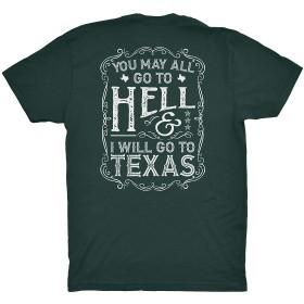 あなたはすべて地獄に行くことができます、私はテキサスに行くでしょう - 書道 - テキサスTシャツフォレストグリーンミディアム