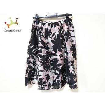ランバンコレクション スカート サイズ40 M レディース 美品 黒×白×レッド 花柄 新着 20190824