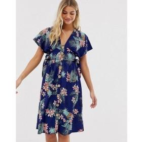 インフルエンス Influence レディース ワンピース ワンピース・ドレス button through midi dress in tropical floral print Navy